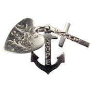 Vintage Sterling Silver FAITH HOPE CHARITY Charm Heart Cross Anchor