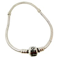 Authentic Sterling Silver PANDORA Barrel Clasp Charm Bracelet