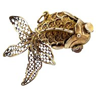 Rare Silver Gilt Articulated Koi FISH Pendant Charm CHINESE Export