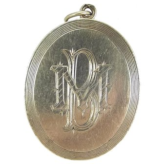 Victorian Silver LOCKET Hand Engraved Initials & Foliage.