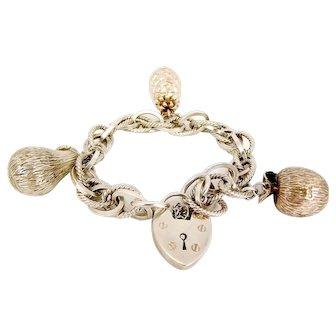 OOAK Silver Bracelet 3 Large FRUIT Charms