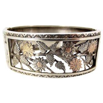 Victorian Silver & 9ct Gold Pierced CUFF Bracelet 1884 Hmk
