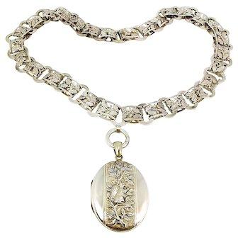 Victorian Silver COLLAR & Matching SQUIRREL Locket Acorns Oak Leaves