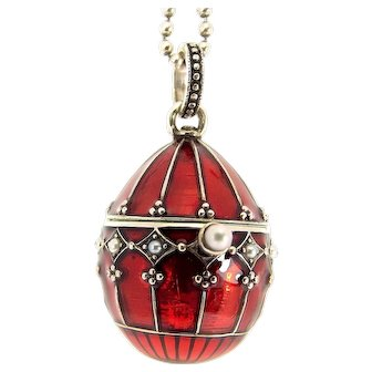 Silver Red Enamel Seed Pearl EGG Pendant Opens SARAMAI