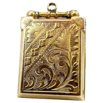 Victorian 9ct Gold LOCKET Opens Ornate Both Sides