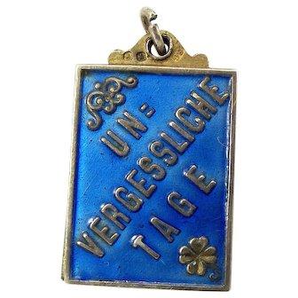 Austro Hungarian UN VERGESSLICHE TAGE Silver Enamel Book Charm