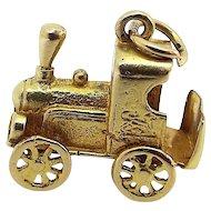 Cute Vintage 9ct Gold Charm Moving STEAM TRAIN ENGINE Lion Detail