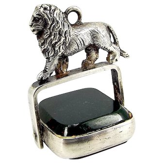 VICTORIAN Silver Charm FOB Pendant LION Atop Spinning Carnelian/Bloodstone 1886