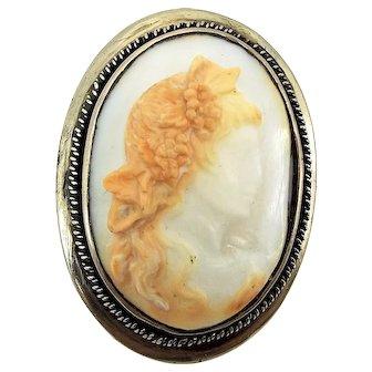 Vintage Shell BACCHANTE Cameo Brooch Pin