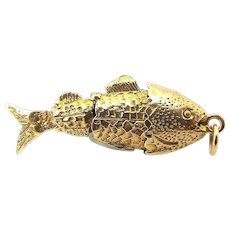 Vintage 9ct Gold Flexible FISH Charm PENDANT Fob