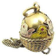 "Vintage Silver Gilt EGG In BASKET Enamel Hen & Chicks 16"" Chain"