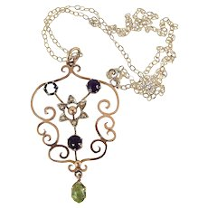 """Victorian 9ct Gold, Amethyst, Peridot & Seed Pearl SUFFRAGETTE Lavalier 16"""" Chain"""