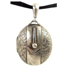 Victorian Silver LOCKET Opens Original Glass Cover 1880