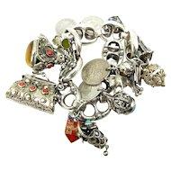 Vintage Sterling Silver ETRUSCAN Style Bracelet 16 Charms Hmk 1951
