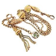 VICTORIAN 9 ct Rose Gold ALBERTINA Bracelet & Tassel Charm