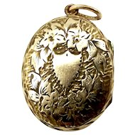 Victorian Gold Fill Oval LOCKET Opens To Photos