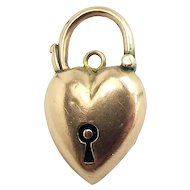 Victorian 9ct Gold Puffy Heart Shaped PADLOCK Bracelet Fastener
