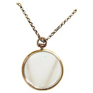"Antique 9ct Gold 2 Sided Photo / Shaker LOCKET 1913 & 18"" Gold CHAIN"