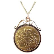 "Antique EDWARDIAN 22ct Gold Half SOVEREIGN Coin Pendant 16"" Chain"