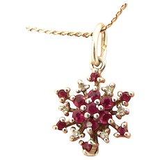 "Vintage Silver SNOWFLAKE Pendant Ruby & Diamond Set 20"" S Chain"