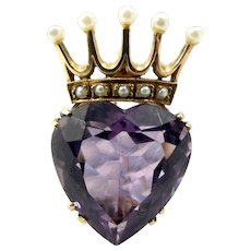 Stunning 9ct Gold & Seed Pearl Crown LUCKENBOOTH Brooch Pendant AMETHYST Heart