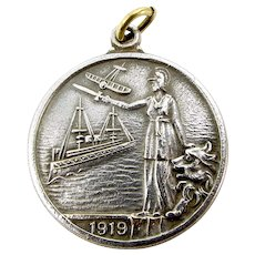 Antique Silver Pl. 1914/1919 MEDAL In Commemoration Of The GREAT WAR Fob PENDANT