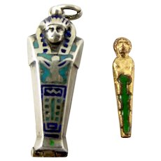 Vintage 800 Silver SARCOPHAGUS Charm PENDANT Fob Opens Removable MUMMY