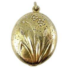 Art Nouveau BULRUSHES Silver Vermeil French Slide LOCKET