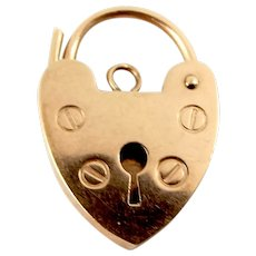 Antique 9ct Rose Gold Working PADLOCK Fastener or PENDANT