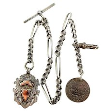 Victorian Silver ALBERT Chain & Coin FOB Edwardian Silver & 9ct Gold FOB