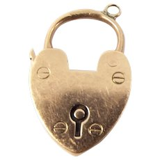 Antique EDWARDIAN 9ct Gold Heart Shaped PADLOCK Fastener PENDANT Hmk 1904
