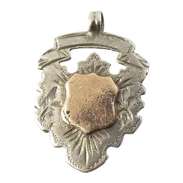 Antique EDWARDIAN Silver & 9ct Gold SHIELD Shaped Charm FOB Pendant 1907