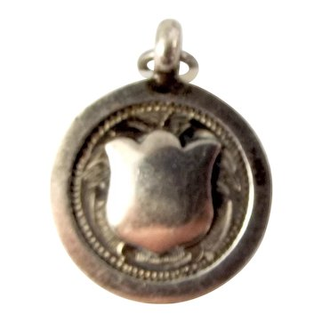 EDWARDIAN Sterling Silver SHIELD On Round Charm FOB Pendant