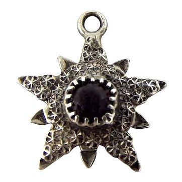 ANTIQUE Edwardian Sterling Silver CHARLES HORNER Repoussé STAR BURST Charm Pendant Fob 1903