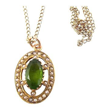"""Antique VICTORIAN 9ct Gold PERIDOT Seed Pearl Oval PENDANT 16"""" Gold Chain Necklace"""