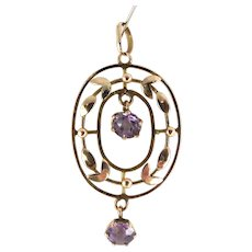 Antique VICTORIAN 9ct Rose Gold LAVALIERE Pendant 2 Moving AMETHYST Paste Drops