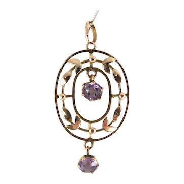 Antique VICTORIAN 9ct Rose Gold LAVALIERE Pendant 2 Moving AMETHYST Paste Drops