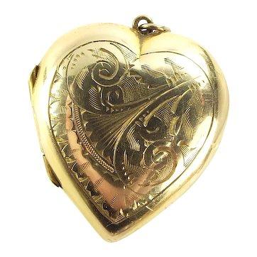 EDWARDIAN 9ct Gold Back & Front HEART Shaped LOCKET Hand Chased Decoration