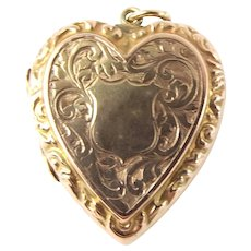 Antique Victorian 9ct Rose Gold HEART Shaped LOCKET Repoussé & Hand Etched