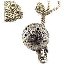"""Antique VICTORIAN Ornate Sterling Silver Ball ORB Charm PENDANT Fob 24"""" Silver CHAIN"""