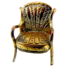 Antique VICTORIAN Silver & Gold Fill CHAIR Opening SEAT Secret Compartment.