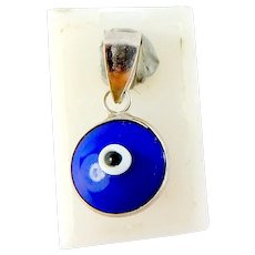 Vintage Silver Charm PENDANT Fob Blue White Black Beads EVIL EYE