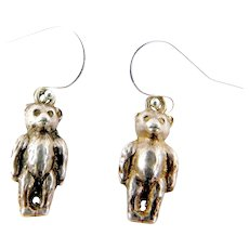 Antique VICTORIAN Sterling Silver Pair Of TEDDY BEAR Earrings New Hook Wires