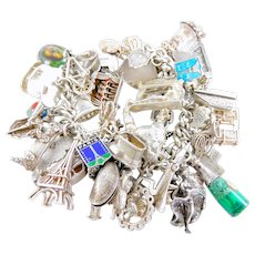 AMAZING Vintage Silver Bracelet 49 FRENCH Themed Charms Some RARE 1973