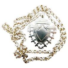 VICTORIAN 1898 Silver FOB Pendant & Vintage Silver Belcher Chain Necklace