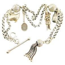 Antique VICTORIAN Silver Albertina Bracelet 4 Charms TASSEL & Twisted T Bar.
