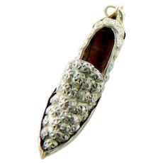 ANTIQUE Art Deco Repoussé ROSETTE 800 Silver Wing Tip SHOE Gold Inside Italian