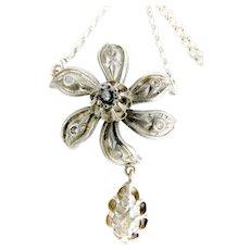 Antique GEORGIAN Silver & Diamond NECKLACE Wedding Jewellery