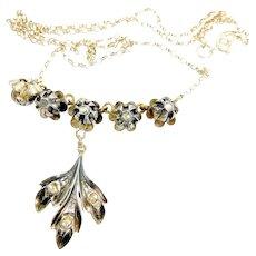 Antique GEORGIAN Silver, 9ct Gold Gilt Back & Diamond NECKLACE Wedding Jewellery