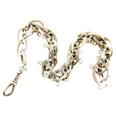 RARE Unusual Antique VICTORIAN Silver Multi OVAL Link Charm Bracelet